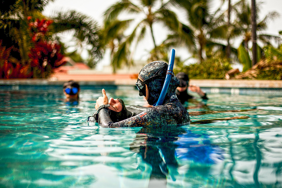 Freediving classes include a mix of classroom, pool and open-water training. Photograph by Immersion Freediving