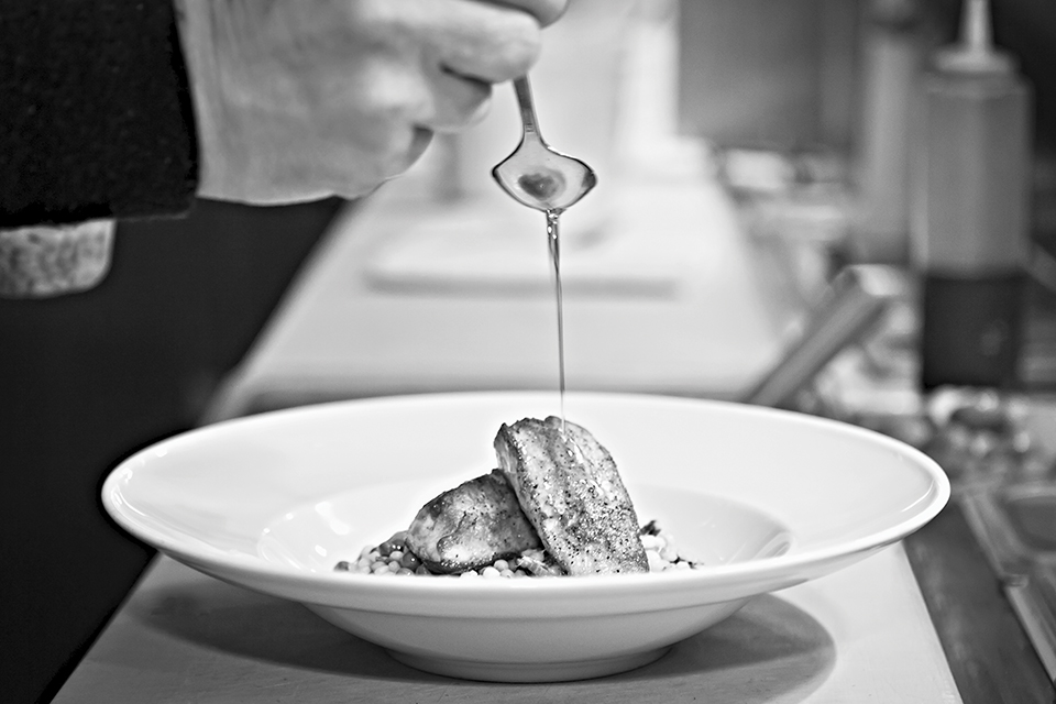 Pan-seared cobia with a wild mushroom gastrique sauce; Photograph by Kim Longstreet
