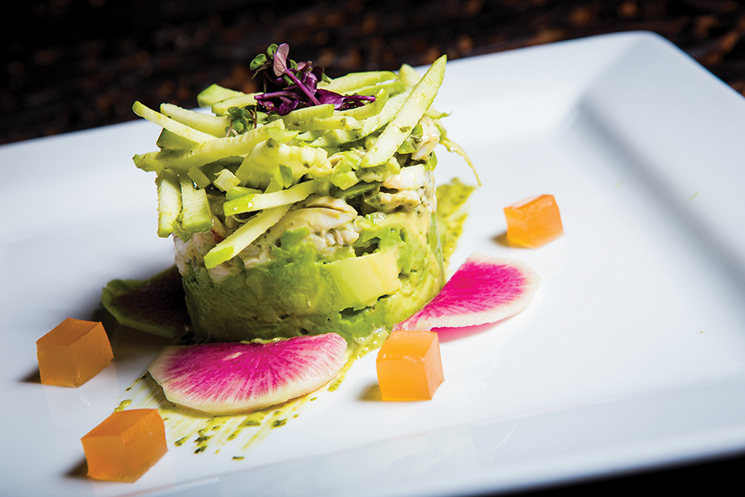 Lump crabmeat with avocado, green apple, Yukon gold potatoes, basil aioli, grapefruit jelly and sliced radishes at Servandos; Photograph by Leo Mayrinck