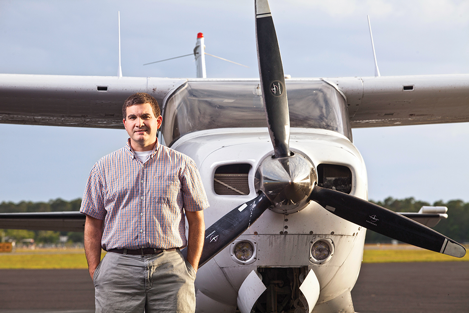 Chris Richter at the University Air Center in Gainesville; Photograph by Jeremiah Stanley