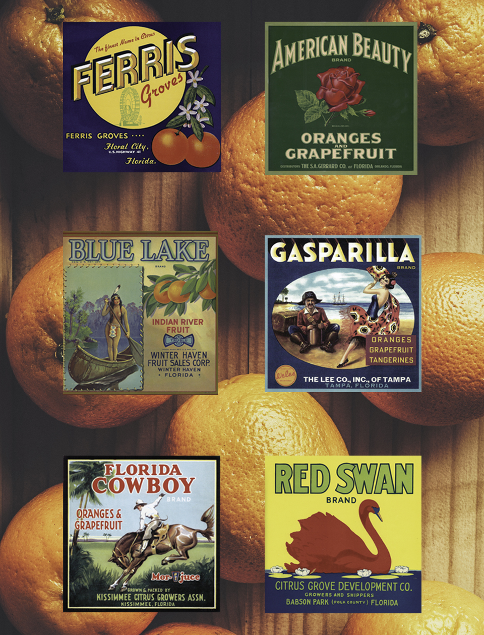 Vintage Orange crate labels; Photography by Katie Hendrick, Deane Briggs, Don Ball