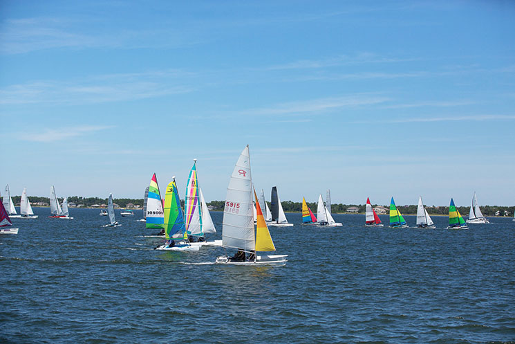 Blowing in the wind at the Juana Good Time Regatta in Santa Rosa Sound. Photography by Mark Tepe