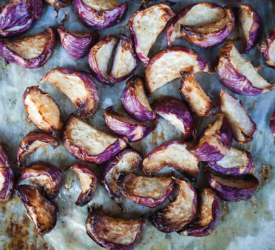Roasted purple potatoes at Three Little Pigs; Photography by Gyorgy Papp
