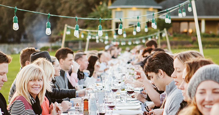 Guests gather at Lake Meadow Naturals Farm; Photography by Hannah Glogower