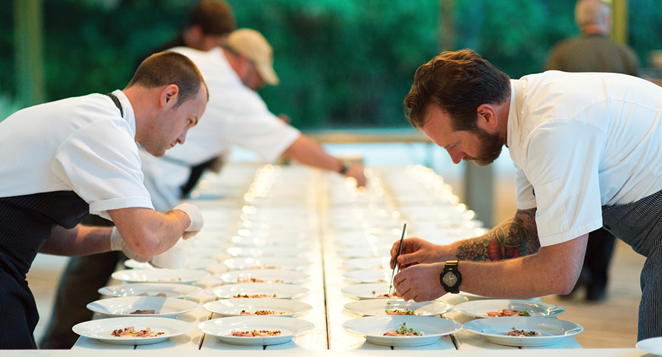 Chefs Brian Whittington and Craig Richards work in tandem perfecting plates for White Oak. Photography by Anges Lopez