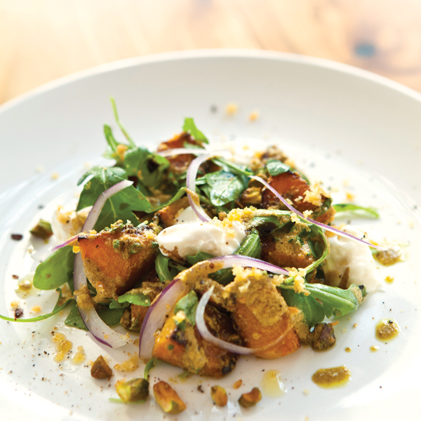 Prato Roasted Butternut Squash Salad with Burrata and Pistachios and Brown Butter; Photography by Michael Pisarri