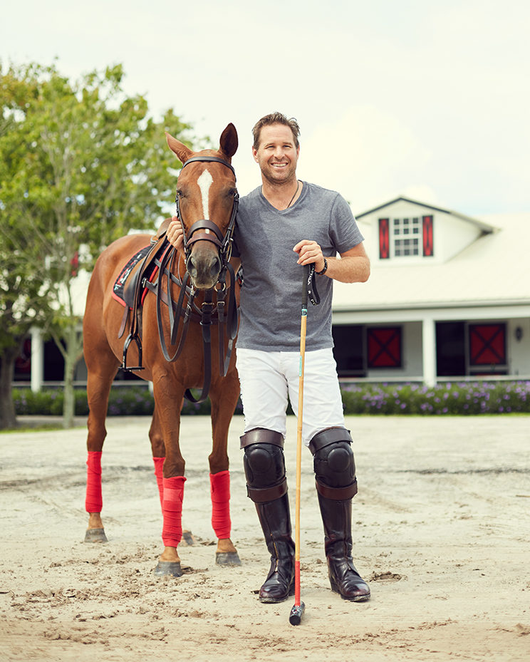 Brandon Phillips with his pony, Honey Badger, at Postage Stamp Farm in Wellington. Photography by Mary Beth Koeth