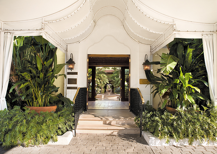 Brazilian Court Canopied entrance; Photography by The Brazilian Court Hotel