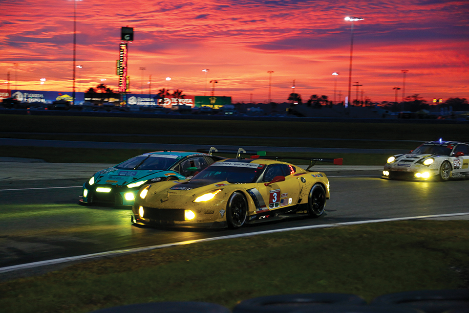 Night racing at the 2017 Rolex 24; Photography by Daytona International Speedway