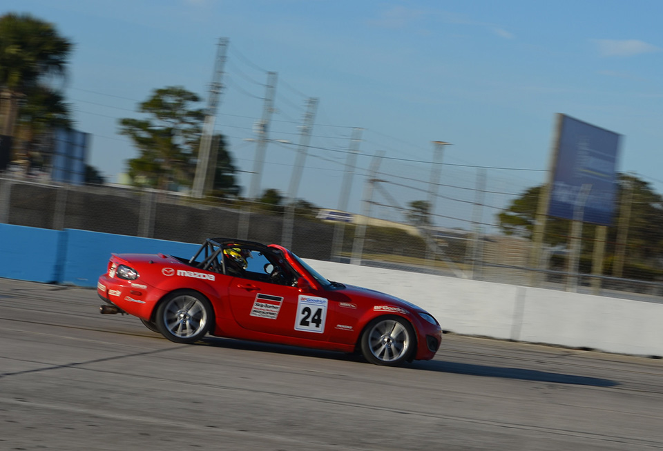 Driver training in Mazda MX5 at Sebring. Photography by Skip Barber Racing School