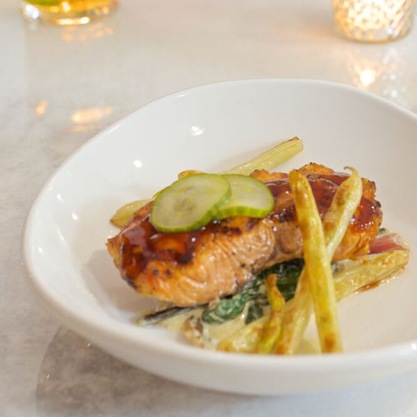 Salmon teriyaki, creamed chard, pickled cucumber and wax beans; Photography by Doro