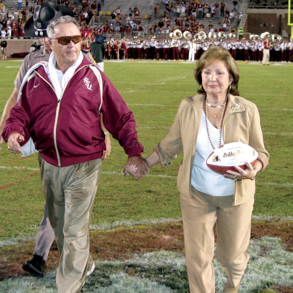 Bobby and Ann Bowden, FSU's garnet and golden gridiron couple; Photography by FSU Sports Info