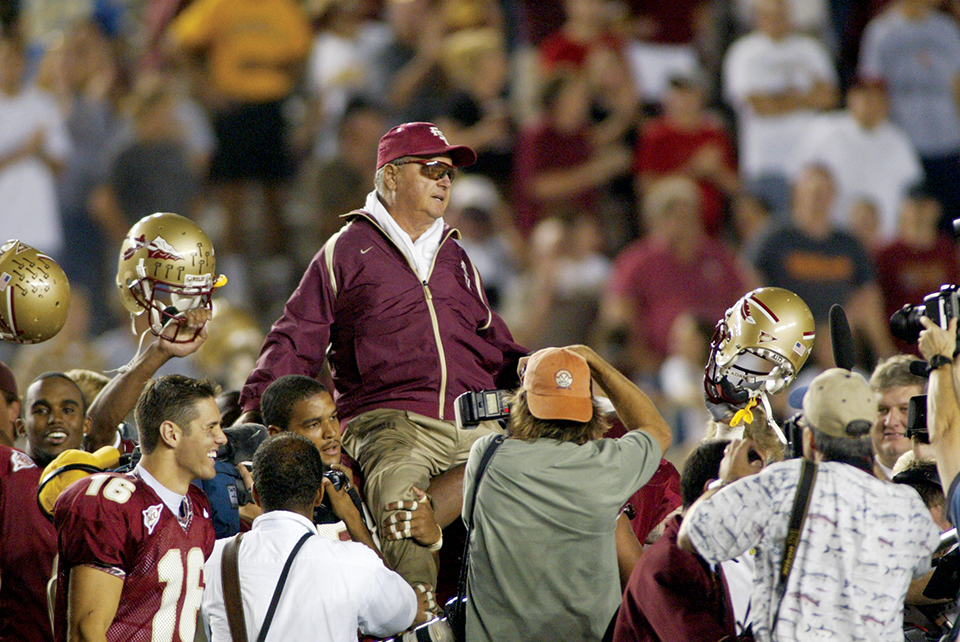 After beating Wake Forest in 2003, Bowden became one of the all-time winningest major college coaches, going head-to-head with Joe Paterno for the top spot. Photography by FSU Sports Info