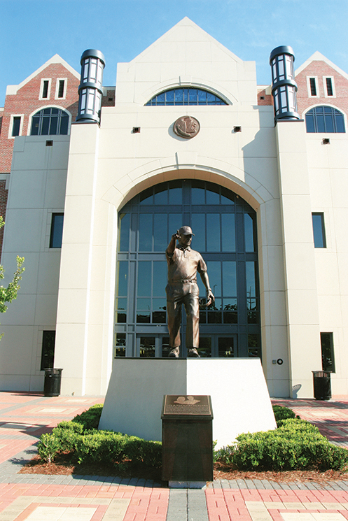 The 9-foot-tall, bronze statue of Bowden, a shrine to the coach at Doak Campell Stadium; Photography by State Archives of Florida