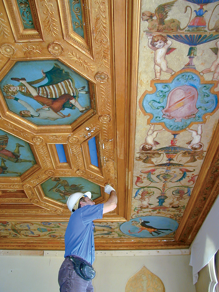 the Dancers of Nations ballroom ceiling depicts couples from abroad in native dress. Photography by John and Mable Ringling Museum of Art