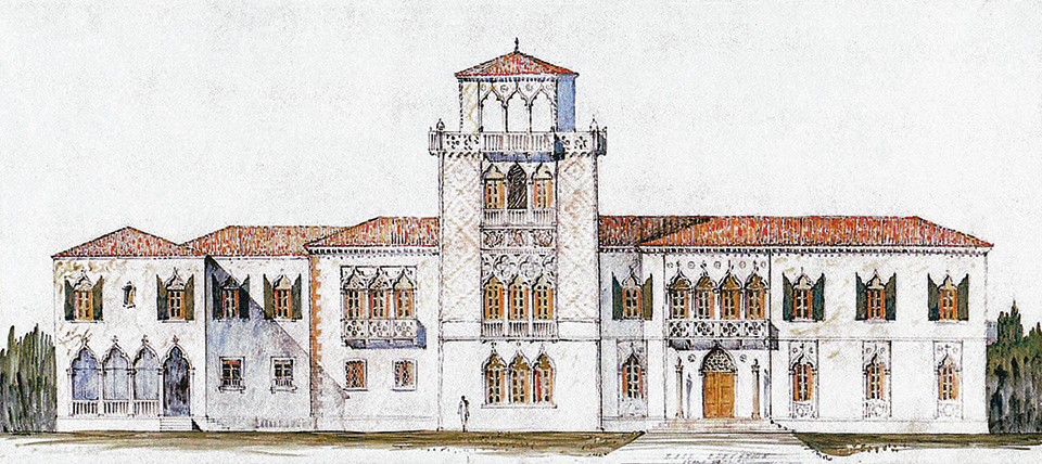 An architectural rendering of Cà d'Zan from 1924; Photography by John and Mable Ringling Museum of Art