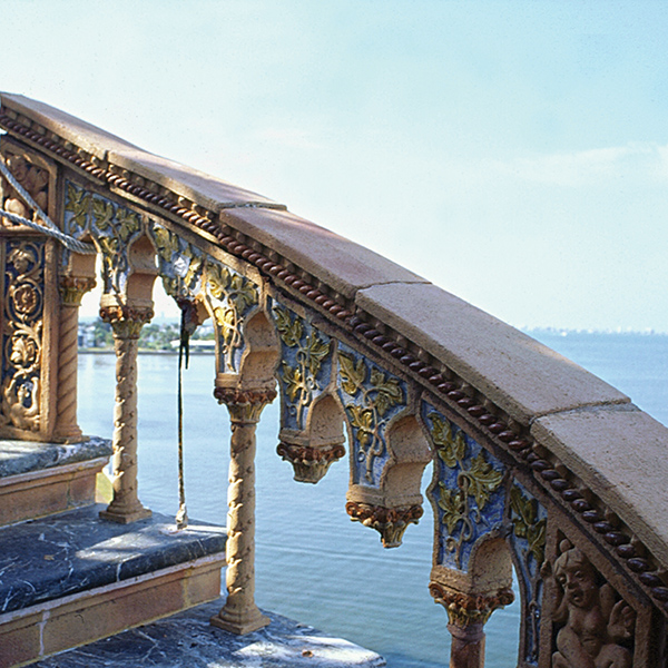 The damaged terra cotta tower railing; Cà d'Zan underwent major refurbishments for nearly 70 years