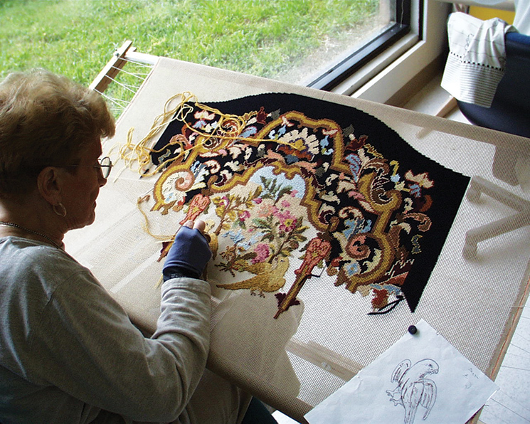 A Sarasota needlepoint guild spent two years refurbishing chair covers. Photography by John and Mable Ringling Museum of Art
