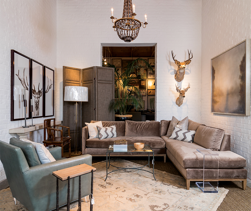A cozy room that gives Duh's customers a sense of how the luxe furniture and decor can translate to their homes. Photography by Duh for Home and Garden