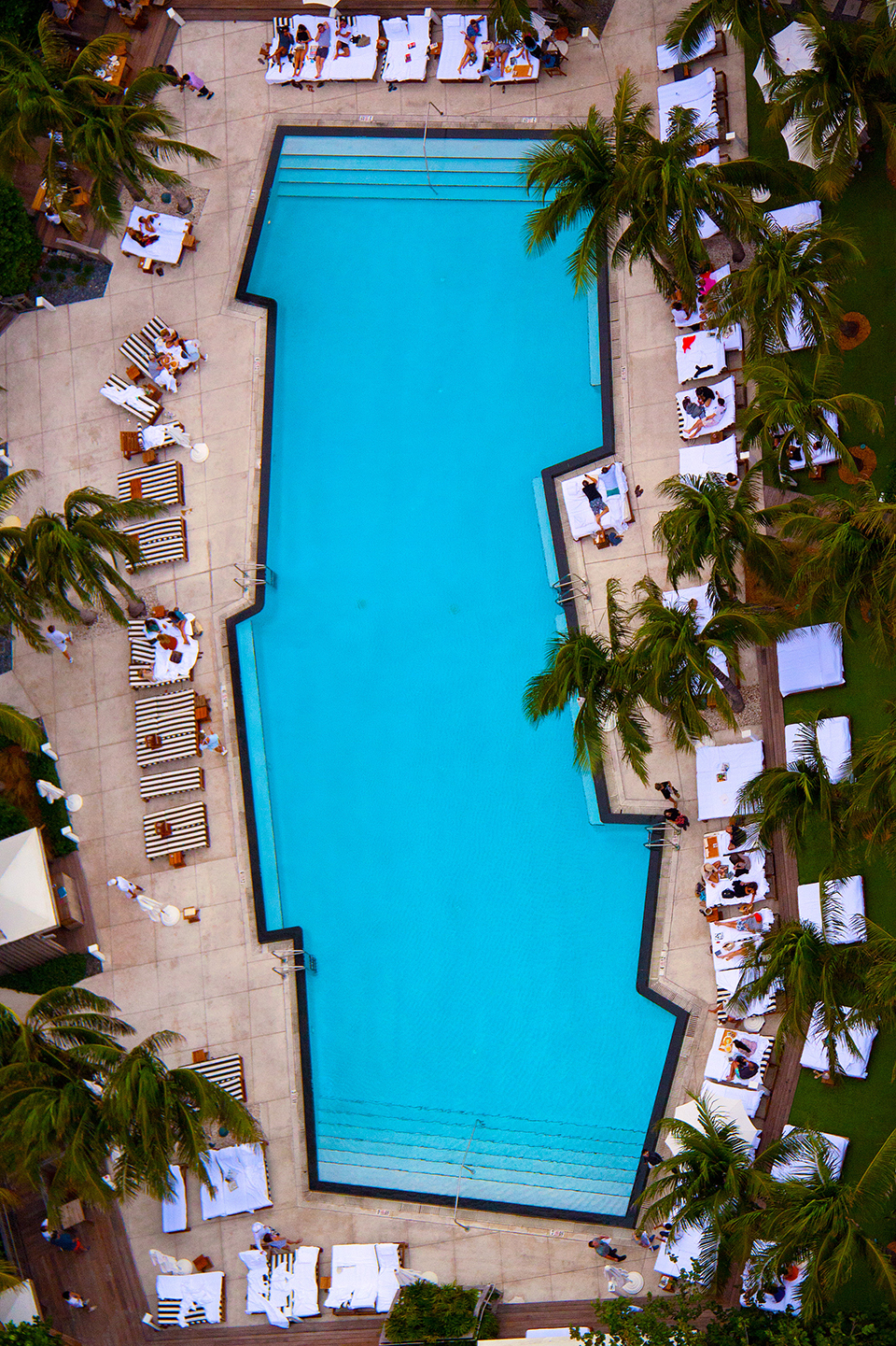 An edgy hotel pool in Miami, captured from up high. Photography by Gray Malin