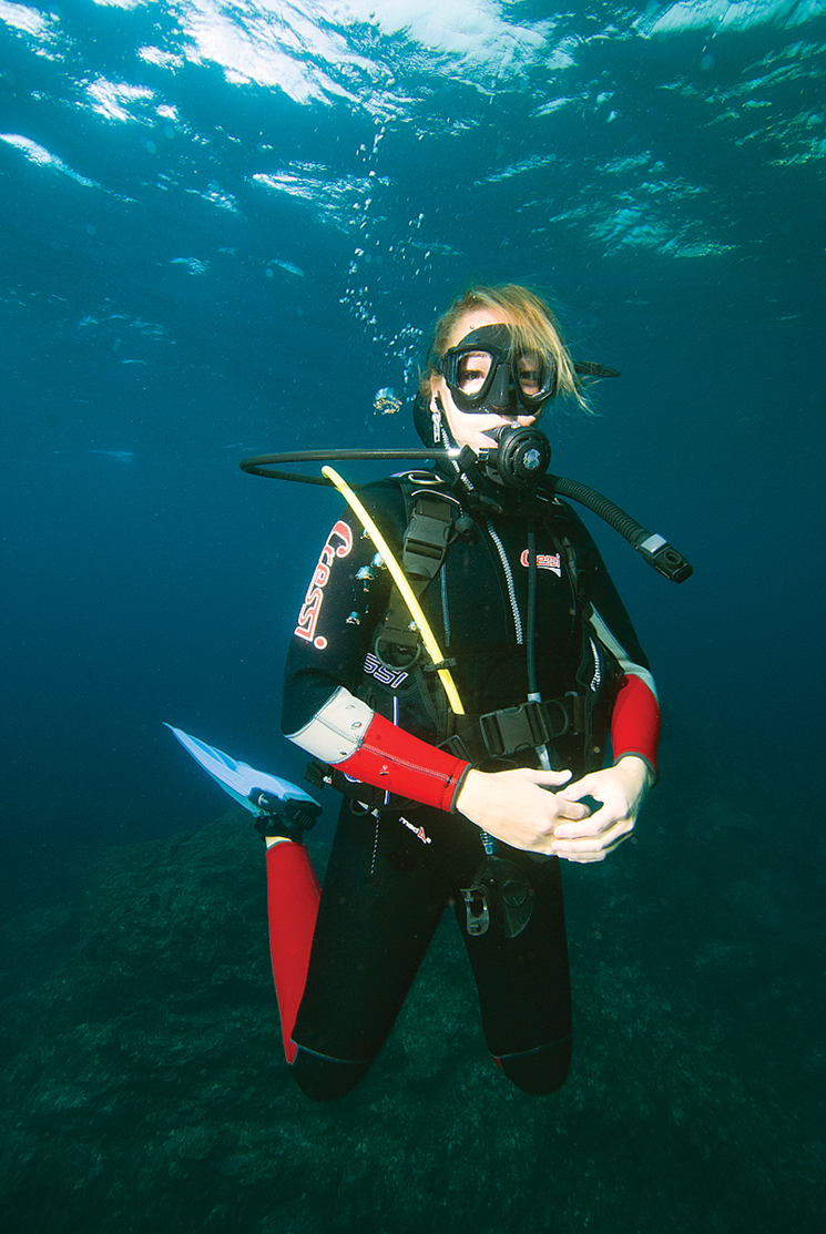 The author in her diving gear enjoying the watery underworld. Photography by Terry Ward