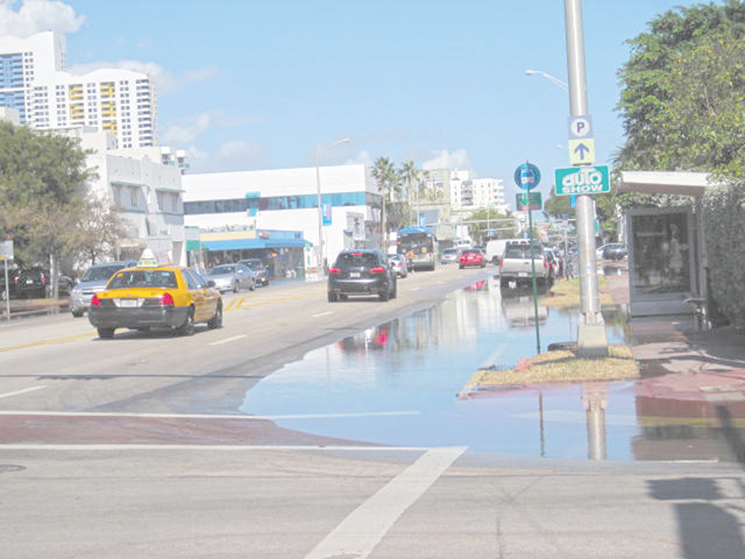 An example of sunny day flooding on a main thoroughfare; Photography by Stephen Leatherman