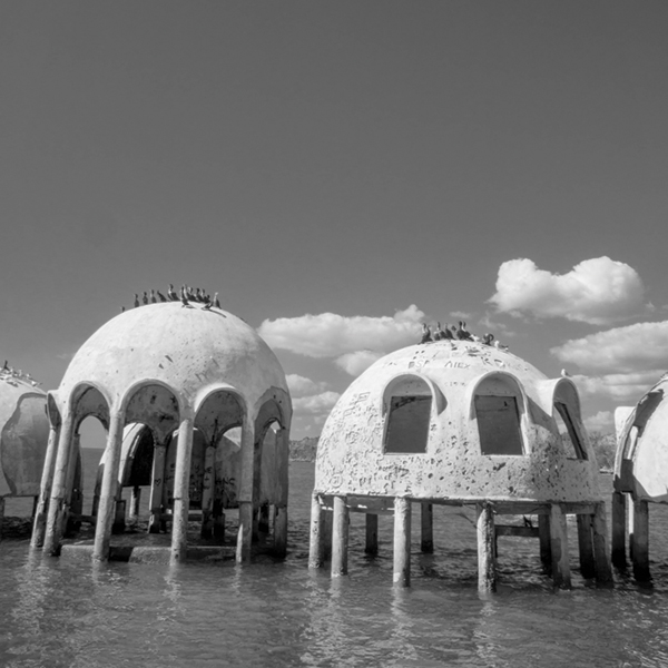 The Dome Home, once perched on the beach, was taken over by the surrounding waters; Photography by Joey Waves