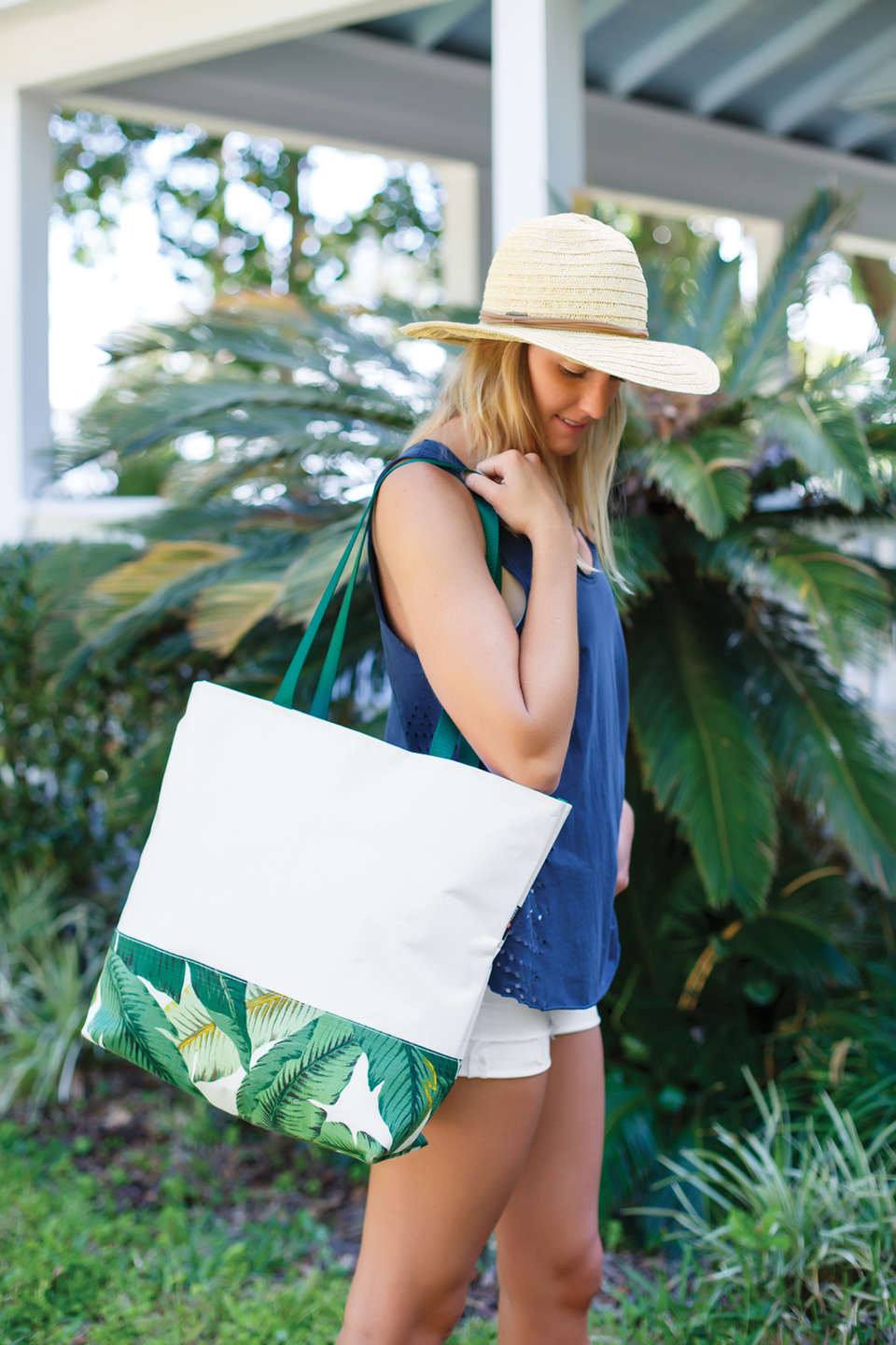 Large tote in banana leaf pattern; Photography by Jessie Preza