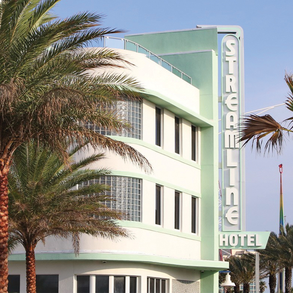Retro racing glamour rips through the details of Daytona's newly renovated Streamline Hotel; Photography by Streamline Hotel