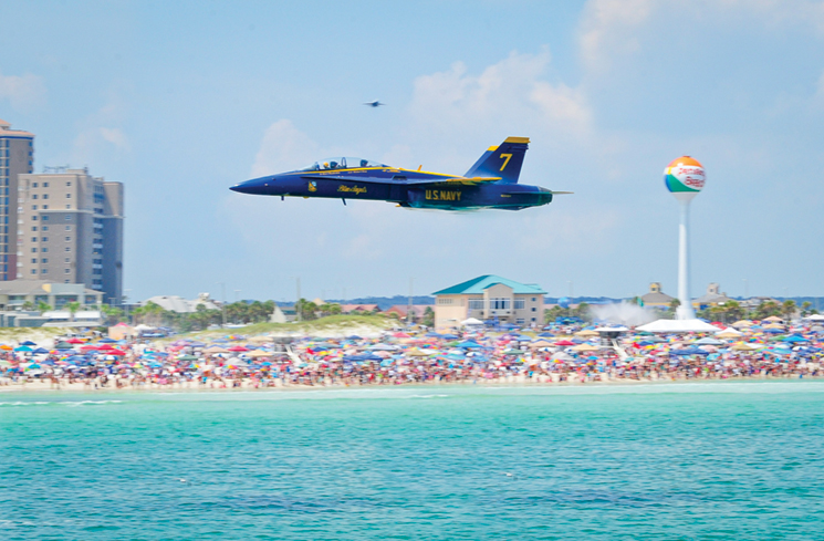 Blue Angels on a mission to entertain thousands of fans at the Pensacola Beach Airshow; photo courtesy of Visit Pensacola