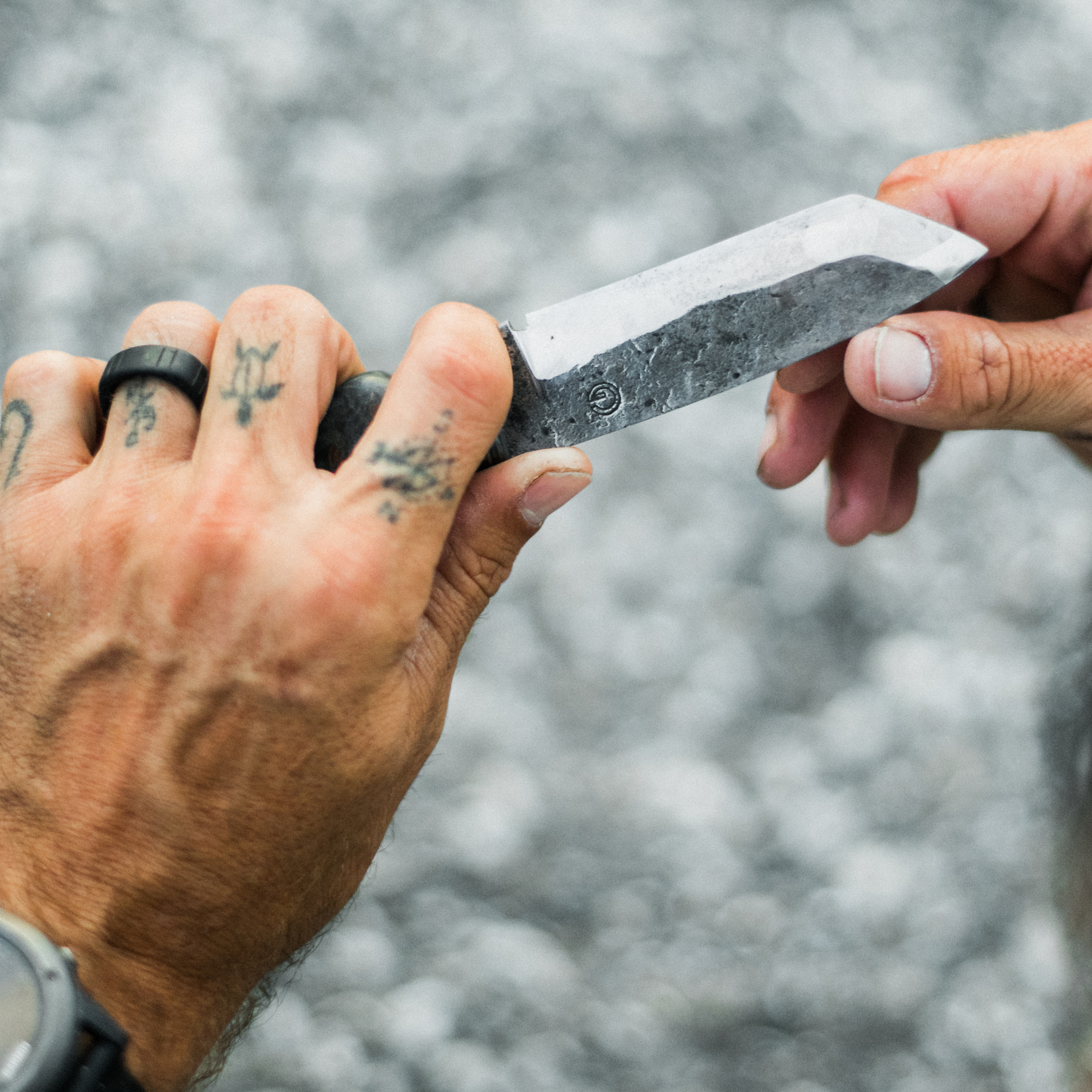 """Gray """"likes the history"""" of this knife, which he repurposed from an early 1900s Georgia sawblade; Photography by Desirée Gardner"""