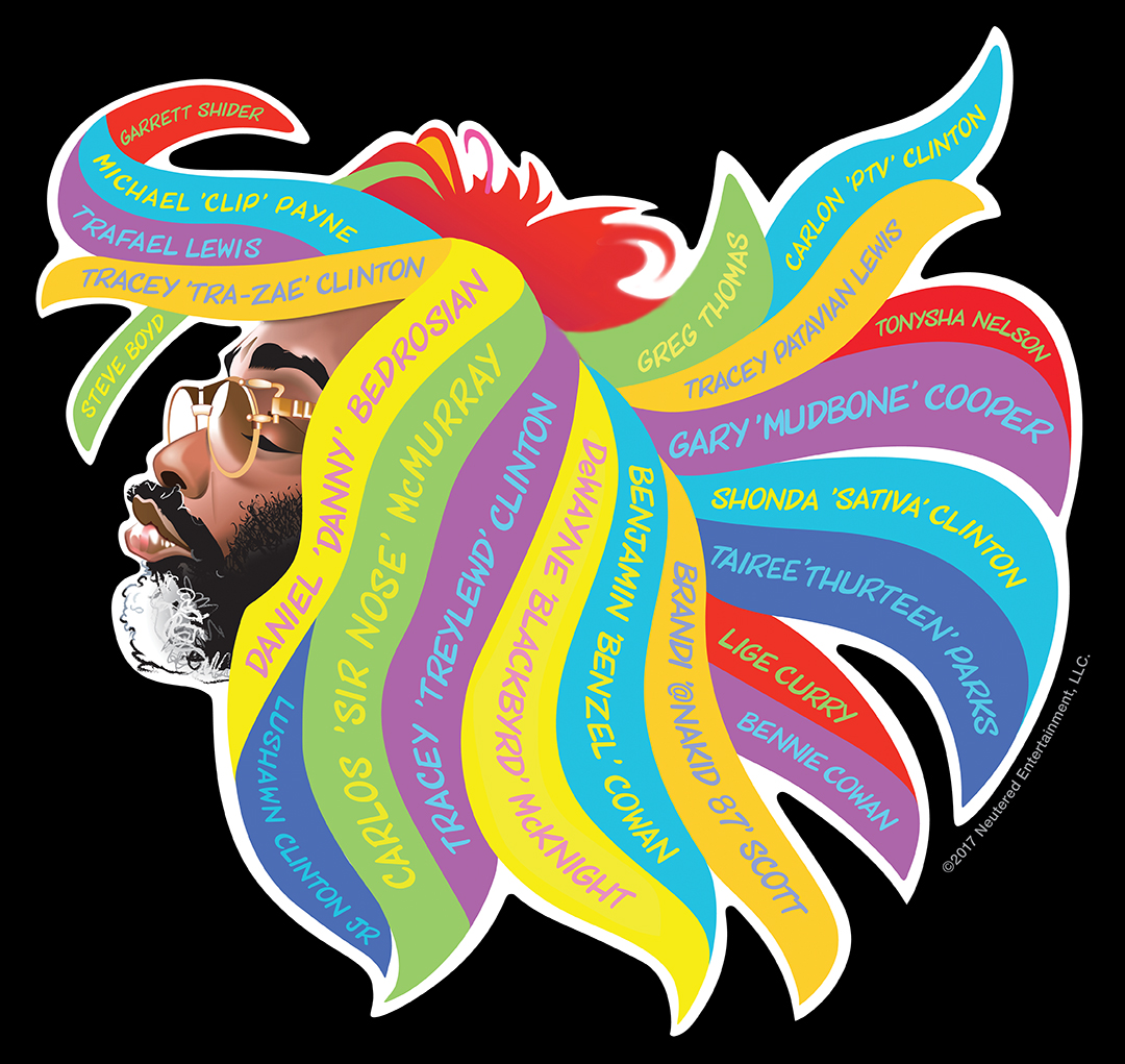 Overton Loyd's Hair Band illustration lists the members of P-Funk in George's iconic dreadlocks
