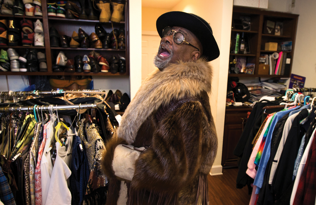 Clinton, known for his outrageous wardrobe, has an entire room at home dedicated to clothing, shoes and accessories
