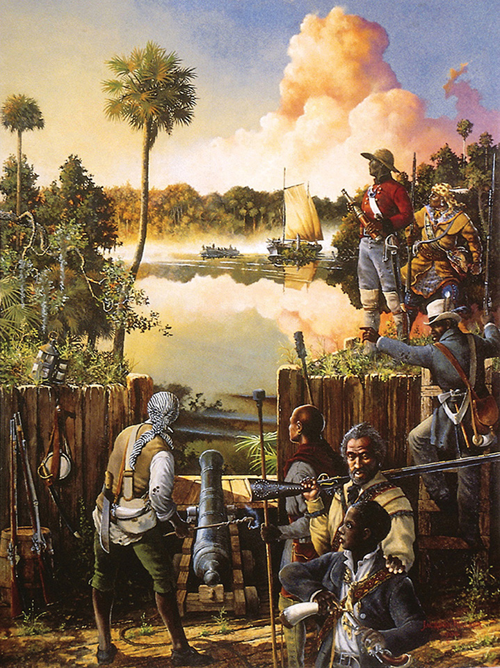A painting depicting the American attack on Fort Negro, situated near Apalachicola, which took place when Billy Powell was only 12, by artist Jackson Walker.