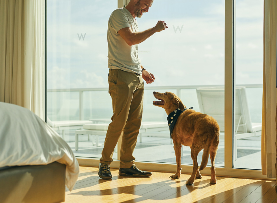 Eric playing with his dog, Lucky, in a hotel room.