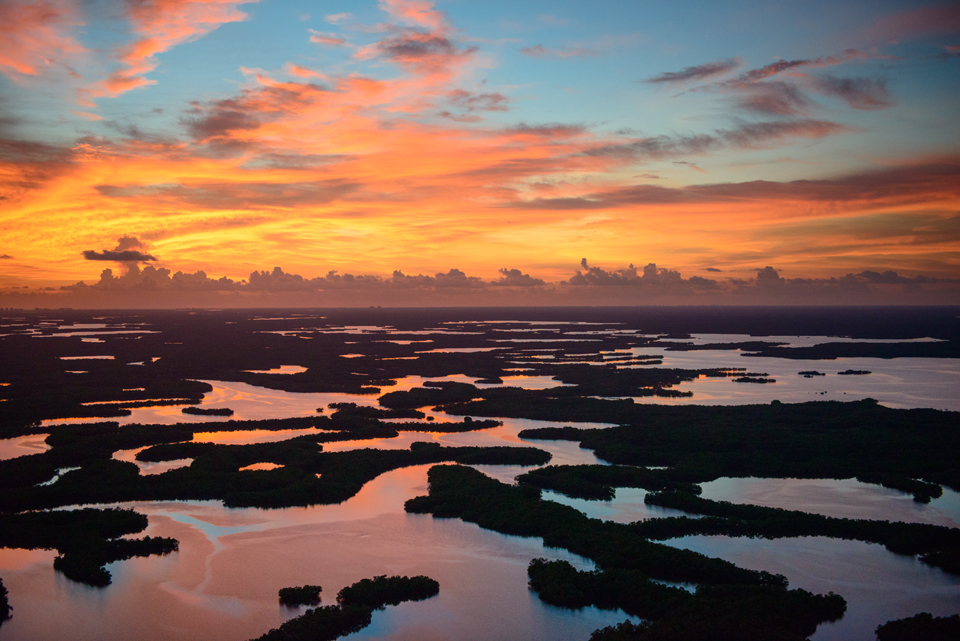 Sunset overlooking the Ten Thousand Islands national wildlife refuge.