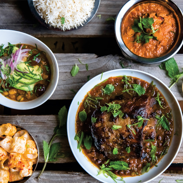 Patel's chicken tikka masala, smoked lamb neck curry, far far, chana masala and steamed rice.