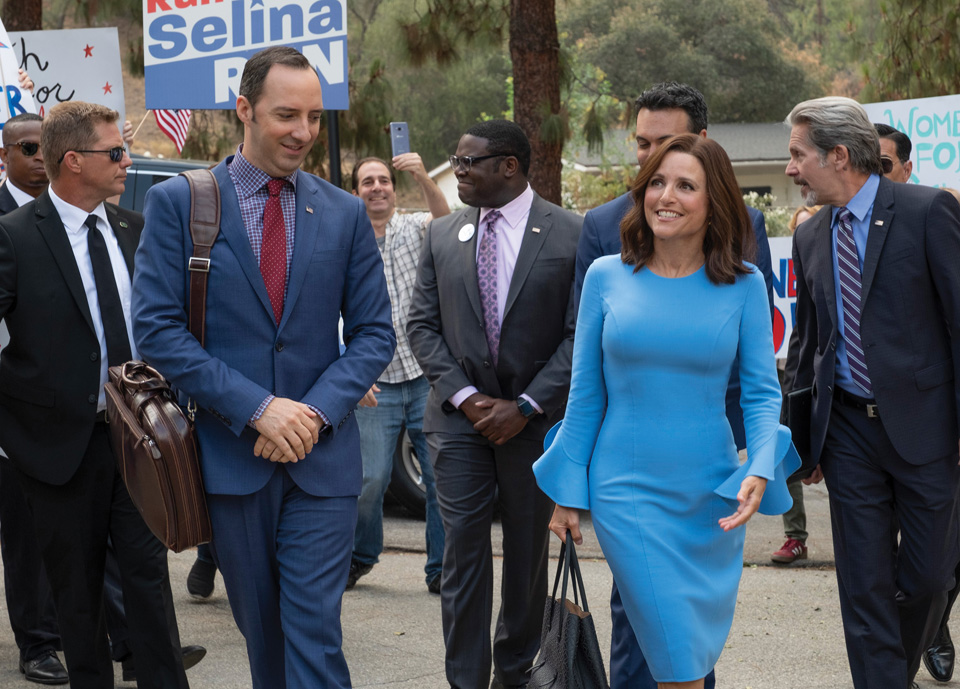 Tony Hale and Julia Louis-Dreyfus on set of Veep.