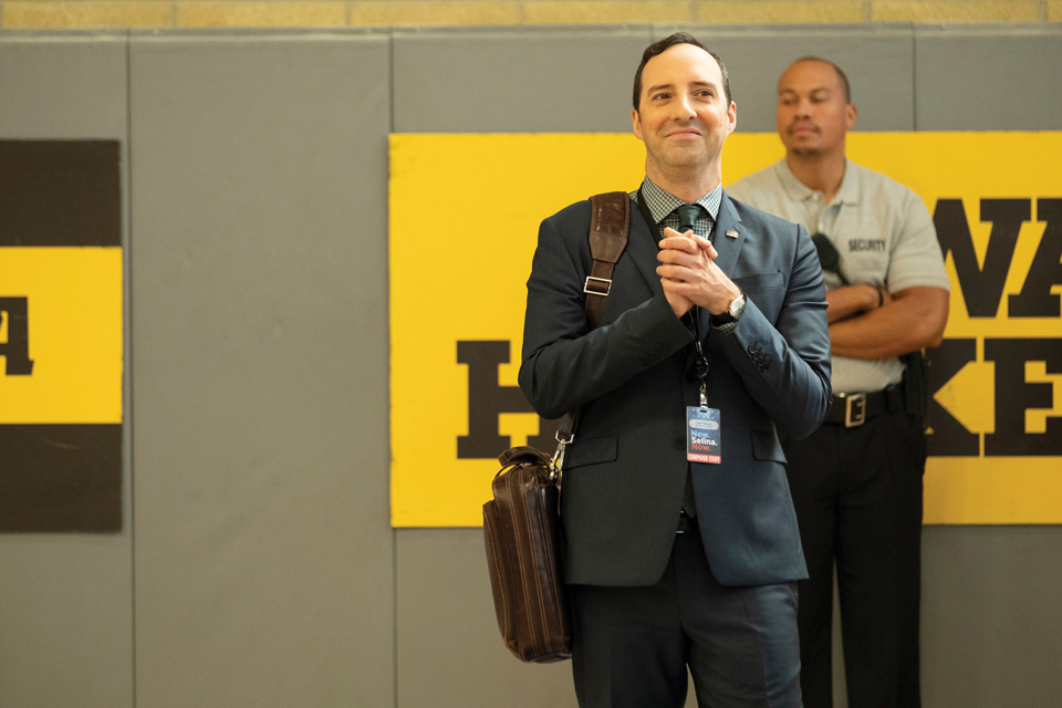 "Hale in his role as Gary, a presidential ""bag man"" in Veep."