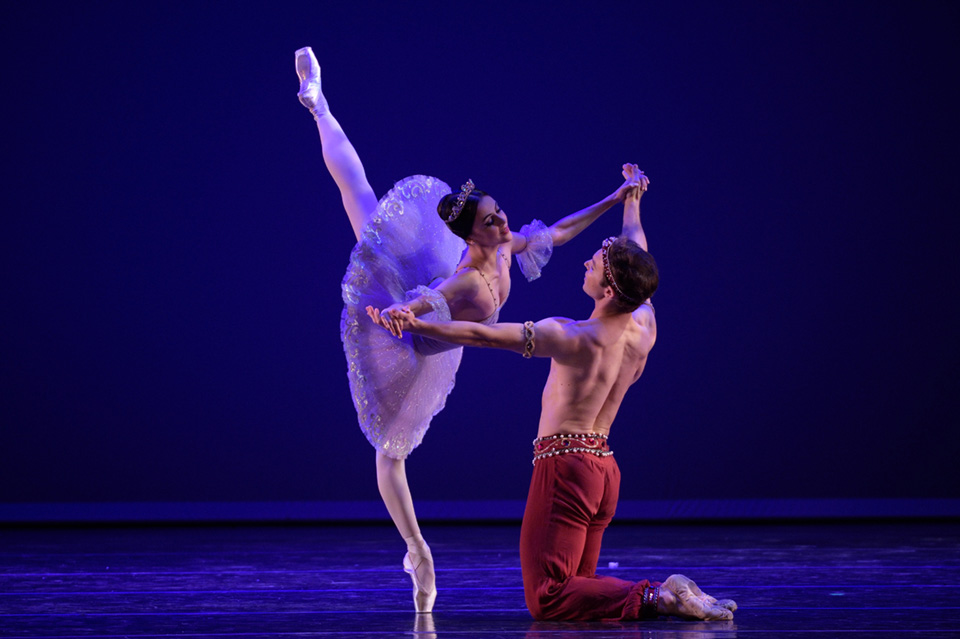 Two ballet dancers are in a pas de deux, One is in arabesque and the other is golding her up. They are dressed in decorative ballet costumes.
