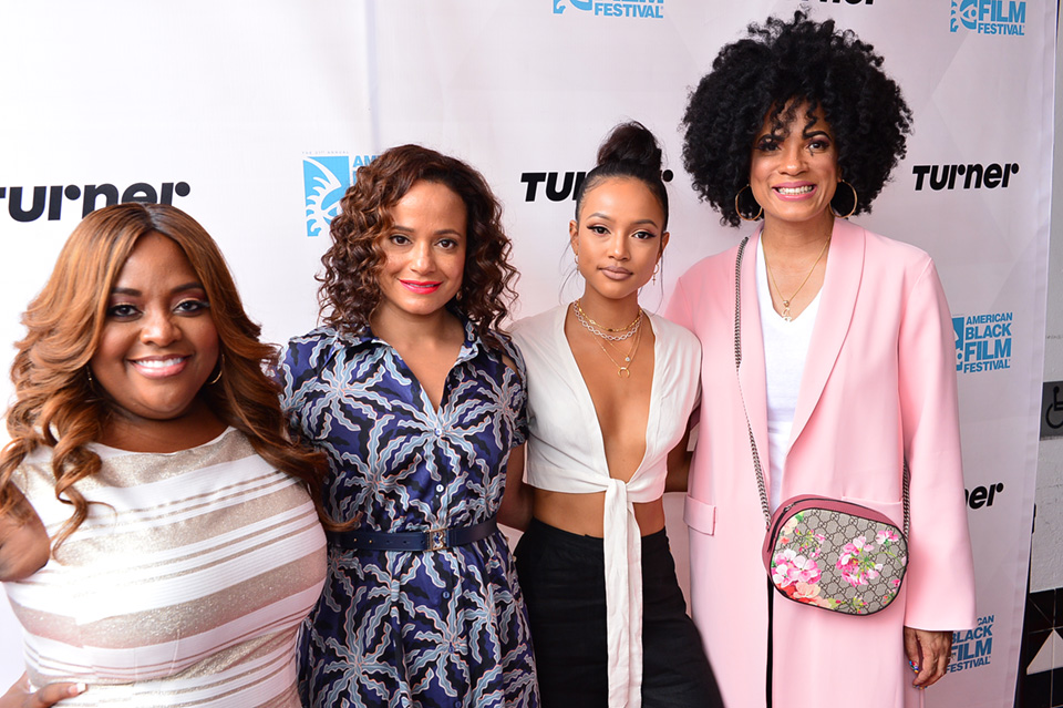Sherri Shepherd, Judy Reyes, Karrueche Tran and Executive Producer Janine Sherman Barrios at spotlight screening of the premiere episode of Turner's new series Claws.