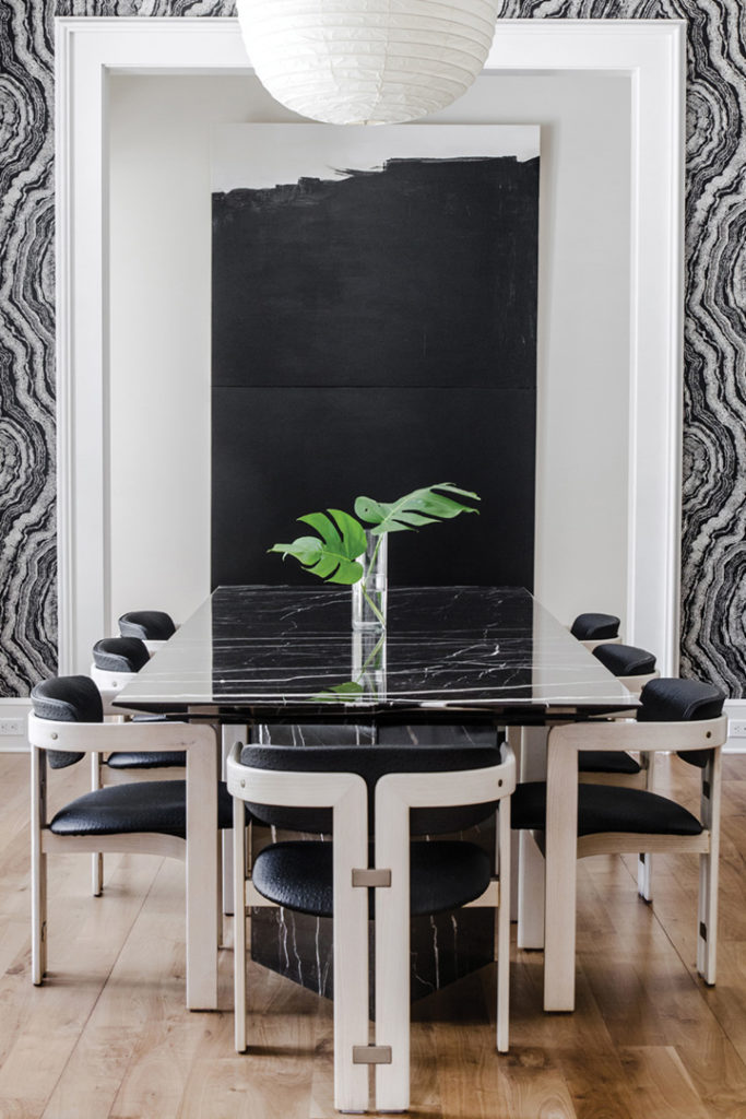 Minimalism marries movement in the custom Sublime Original marble dining table