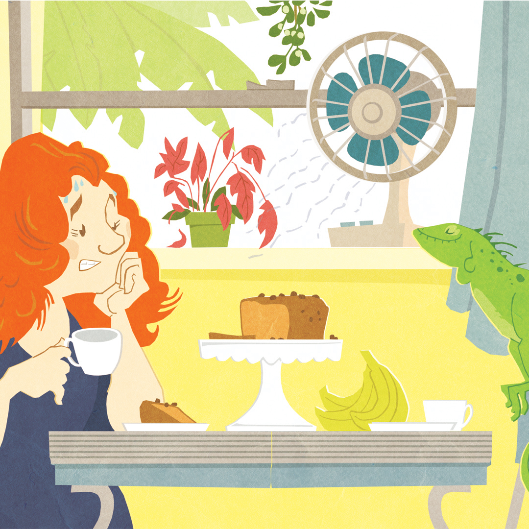 Capital Dame in the heat of her kitchen. Illustration by Stephen Lomazzo