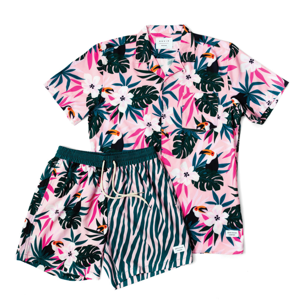 DUVIN DESIGN CO. TROPICS BUTTONUP AND SHORTS