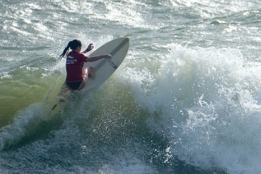 Piper Austin of Jacksonville Beach makes a turn during the WaveMasters pro division event