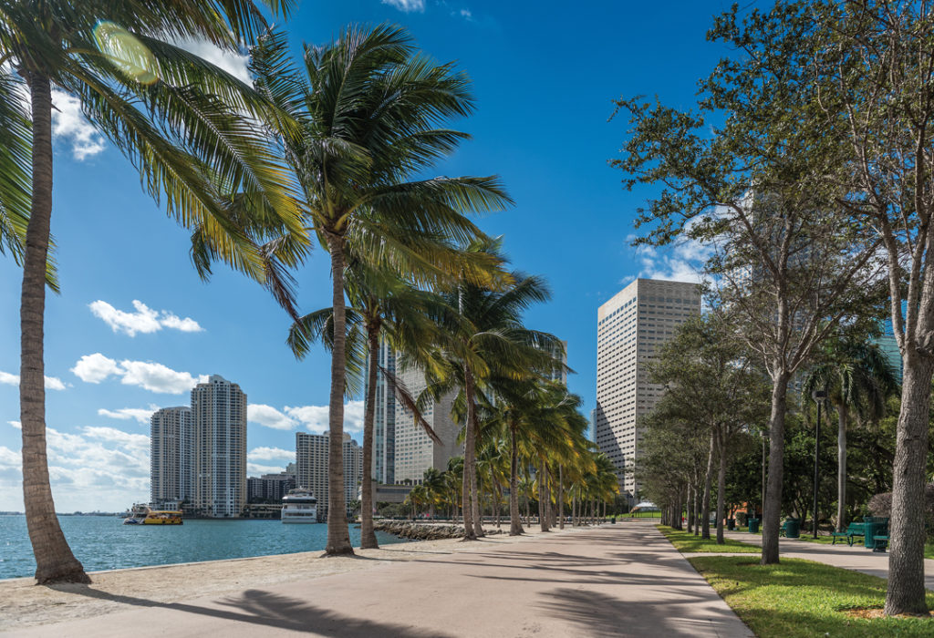 Quiet Bayfront Park promenade in a sunny morning