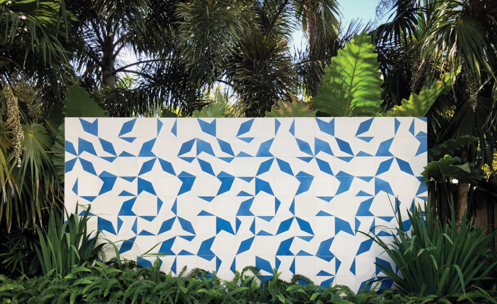 A handcrafted tile wall in Oakland Park