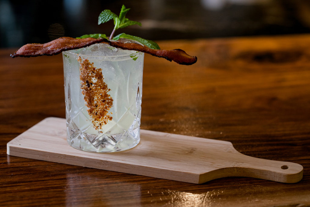 bacon on top of a margarita