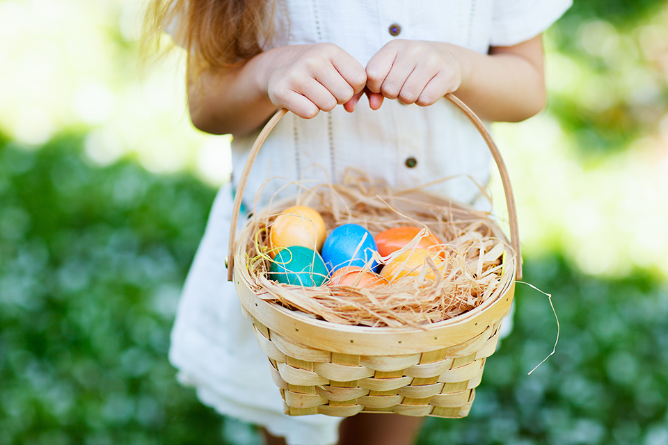 girl with easter basket of eggs