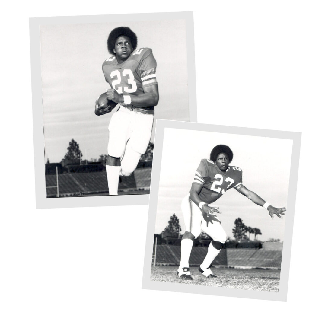 Pictures of Leonard George. He is in his uniform and number 23. He wears his hair in an afro.